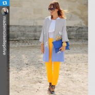 Blue and yellow from last year at #pfw. #Repost @mademoiselleprive…