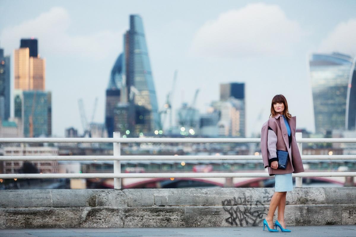 Turquoise heels at London Fashion Week