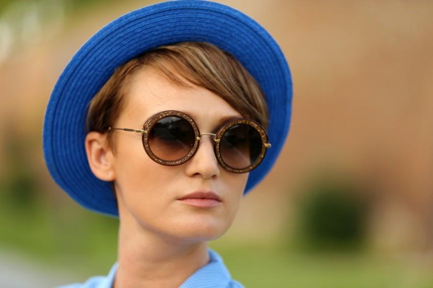 Miu Miu Sunglasses and & Other Stories Blue Stylish Hat.
