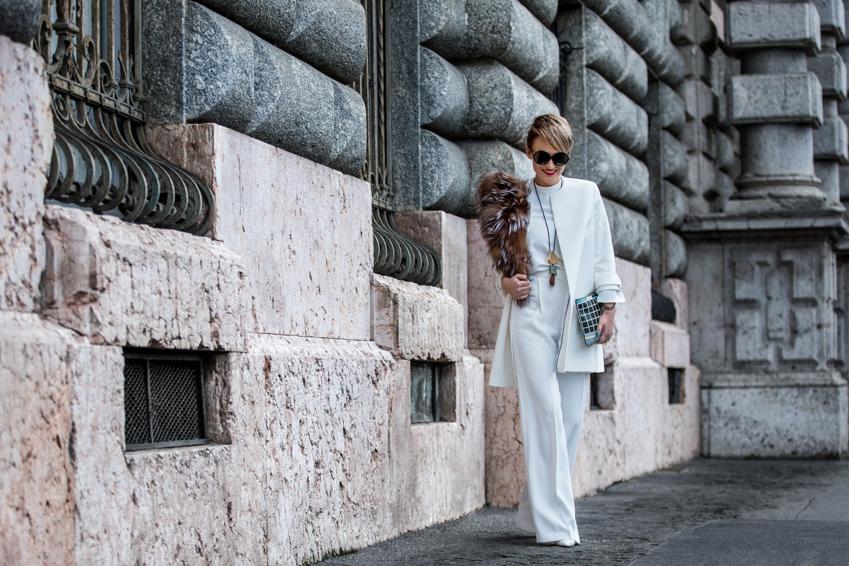 All white @Milan Fashion Week