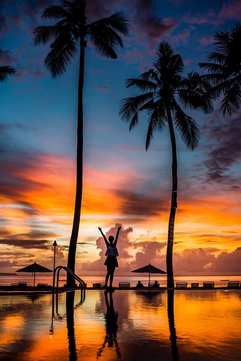 Palau Pacific resort sunset in Palau Island